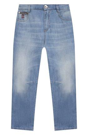 Детские джинсы BRUNELLO CUCINELLI голубого цвета, арт. BE645D300C   Фото 1
