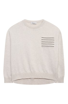 Детский хлопковый пуловер BRUNELLO CUCINELLI бежевого цвета, арт. B19M13500C | Фото 1
