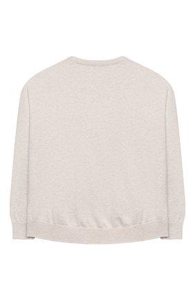 Детский хлопковый пуловер BRUNELLO CUCINELLI бежевого цвета, арт. B19M13500C | Фото 2