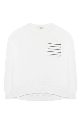 Детский хлопковый пуловер BRUNELLO CUCINELLI белого цвета, арт. B19M13500C | Фото 1