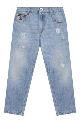 Детские джинсы BRUNELLO CUCINELLI голубого цвета, арт. B0Z37D304A   Фото 1