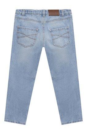Детские джинсы BRUNELLO CUCINELLI голубого цвета, арт. B0Z37D304A   Фото 2