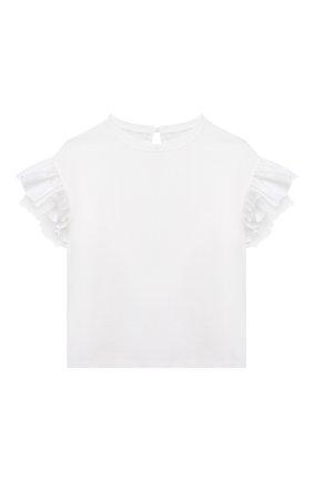 Детский хлопковый топ BRUNELLO CUCINELLI белого цвета, арт. B0A45T016A | Фото 1 (Рукава: Короткие; Материал внешний: Хлопок; Девочки Кросс-КТ: топ-одежда; Ростовка одежда: 4 года | 104 см, 6 лет | 116 см)