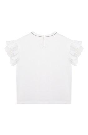 Детский хлопковый топ BRUNELLO CUCINELLI белого цвета, арт. B0A45T016A | Фото 2 (Рукава: Короткие; Материал внешний: Хлопок; Девочки Кросс-КТ: топ-одежда; Ростовка одежда: 4 года | 104 см, 6 лет | 116 см)