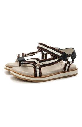 Детские сандалии BRUNELLO CUCINELLI коричневого цвета, арт. BNATRZL121   Фото 1 (Материал внутренний: Натуральная кожа; Материал внешний: Текстиль)