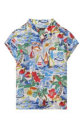 Детский льняная блузка LORO PIANA разноцветного цвета, арт. FAL5904 | Фото 1 (Рукава: Короткие; Материал внешний: Лен; Ростовка одежда: 10 - 11 лет | 140 - 146см, 18 мес | 86 см, 4 года | 104 см, 6 лет | 116 см, 8 лет | 128 см)