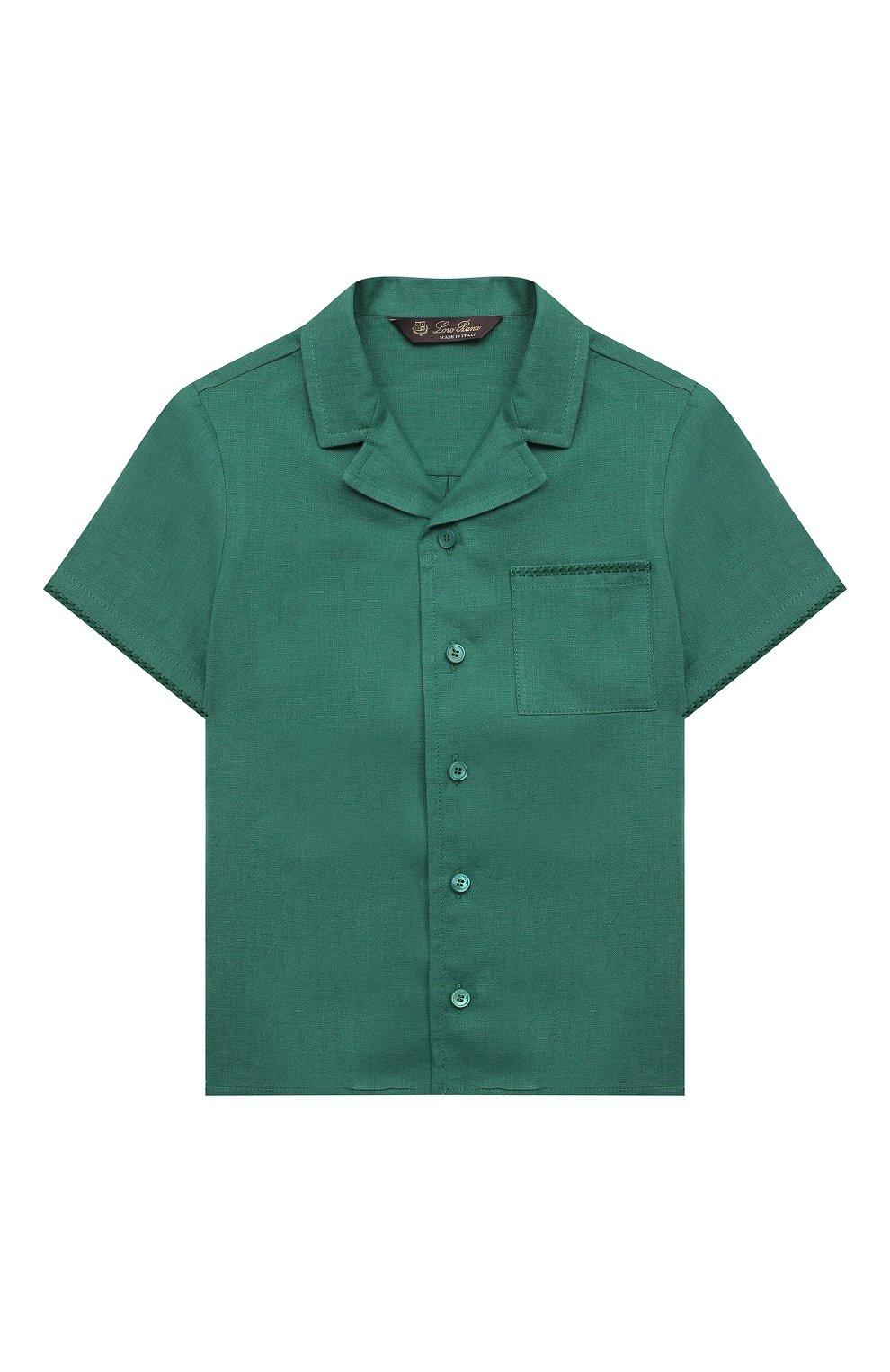 Детская льняная рубашка LORO PIANA зеленого цвета, арт. FAL5894   Фото 1 (Рукава: Короткие; Случай: Повседневный; Материал внешний: Лен; Ростовка одежда: 10 - 11 лет   140 - 146см, 12 лет   152 см, 2 года   92 см, 4 года   104 см, 6 лет   116 см, 8 лет   128 см)