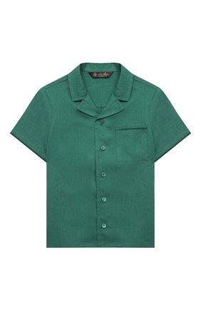 Детская льняная рубашка LORO PIANA зеленого цвета, арт. FAL5894 | Фото 1