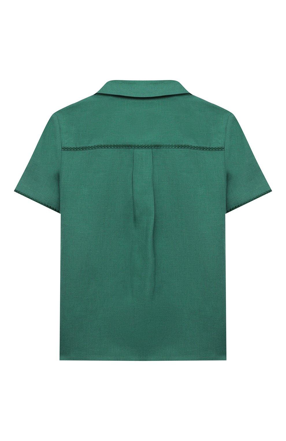Детская льняная рубашка LORO PIANA зеленого цвета, арт. FAL5894   Фото 2 (Рукава: Короткие; Случай: Повседневный; Материал внешний: Лен; Ростовка одежда: 10 - 11 лет   140 - 146см, 12 лет   152 см, 2 года   92 см, 4 года   104 см, 6 лет   116 см, 8 лет   128 см)