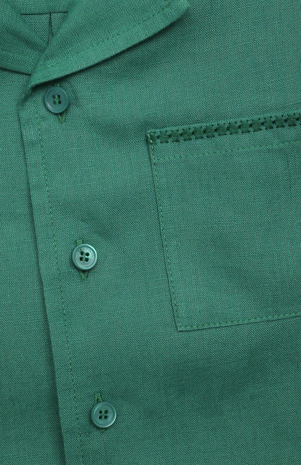 Детская льняная рубашка LORO PIANA зеленого цвета, арт. FAL5894   Фото 3 (Рукава: Короткие; Случай: Повседневный; Материал внешний: Лен; Ростовка одежда: 10 - 11 лет   140 - 146см, 12 лет   152 см, 2 года   92 см, 4 года   104 см, 6 лет   116 см, 8 лет   128 см)