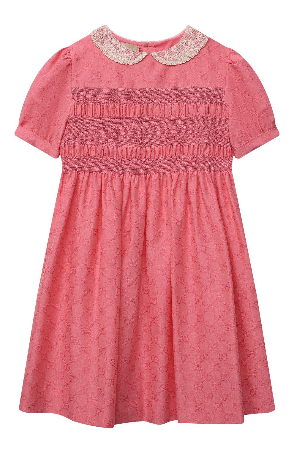 Детское хлопковое платье GUCCI розового цвета, арт. 652700/XWAN0   Фото 1 (Рукава: Короткие; Случай: Повседневный; Материал внешний: Хлопок; Девочки Кросс-КТ: Платье-одежда; Материал подклада: Хлопок; Ростовка одежда: 10 - 11 лет   140 - 146см, 4 года   104 см, 5 лет   110 см, 6 лет   116 см, 8 лет   128 см)