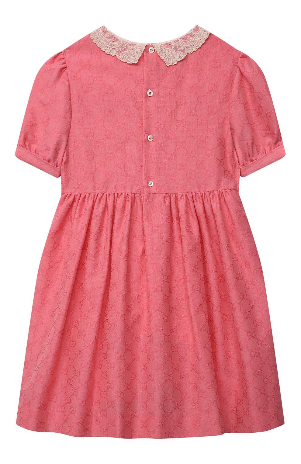 Детское хлопковое платье GUCCI розового цвета, арт. 652700/XWAN0   Фото 2 (Рукава: Короткие; Случай: Повседневный; Материал внешний: Хлопок; Девочки Кросс-КТ: Платье-одежда; Материал подклада: Хлопок; Ростовка одежда: 10 - 11 лет   140 - 146см, 4 года   104 см, 5 лет   110 см, 6 лет   116 см, 8 лет   128 см)