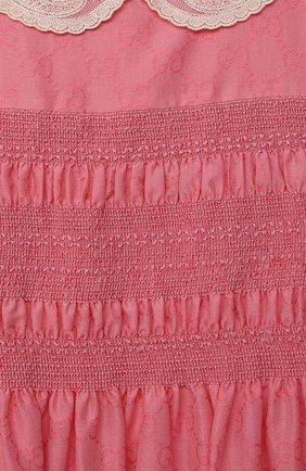 Детское хлопковое платье GUCCI розового цвета, арт. 652700/XWAN0   Фото 3 (Рукава: Короткие; Случай: Повседневный; Материал внешний: Хлопок; Девочки Кросс-КТ: Платье-одежда; Материал подклада: Хлопок; Ростовка одежда: 10 - 11 лет   140 - 146см, 4 года   104 см, 5 лет   110 см, 6 лет   116 см, 8 лет   128 см)