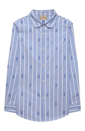 Детская хлопковая рубашка GUCCI голубого цвета, арт. 645029/XWAMX | Фото 1