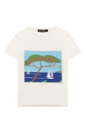 Детская хлопковая футболка LORO PIANA белого цвета, арт. FAL5119 | Фото 1