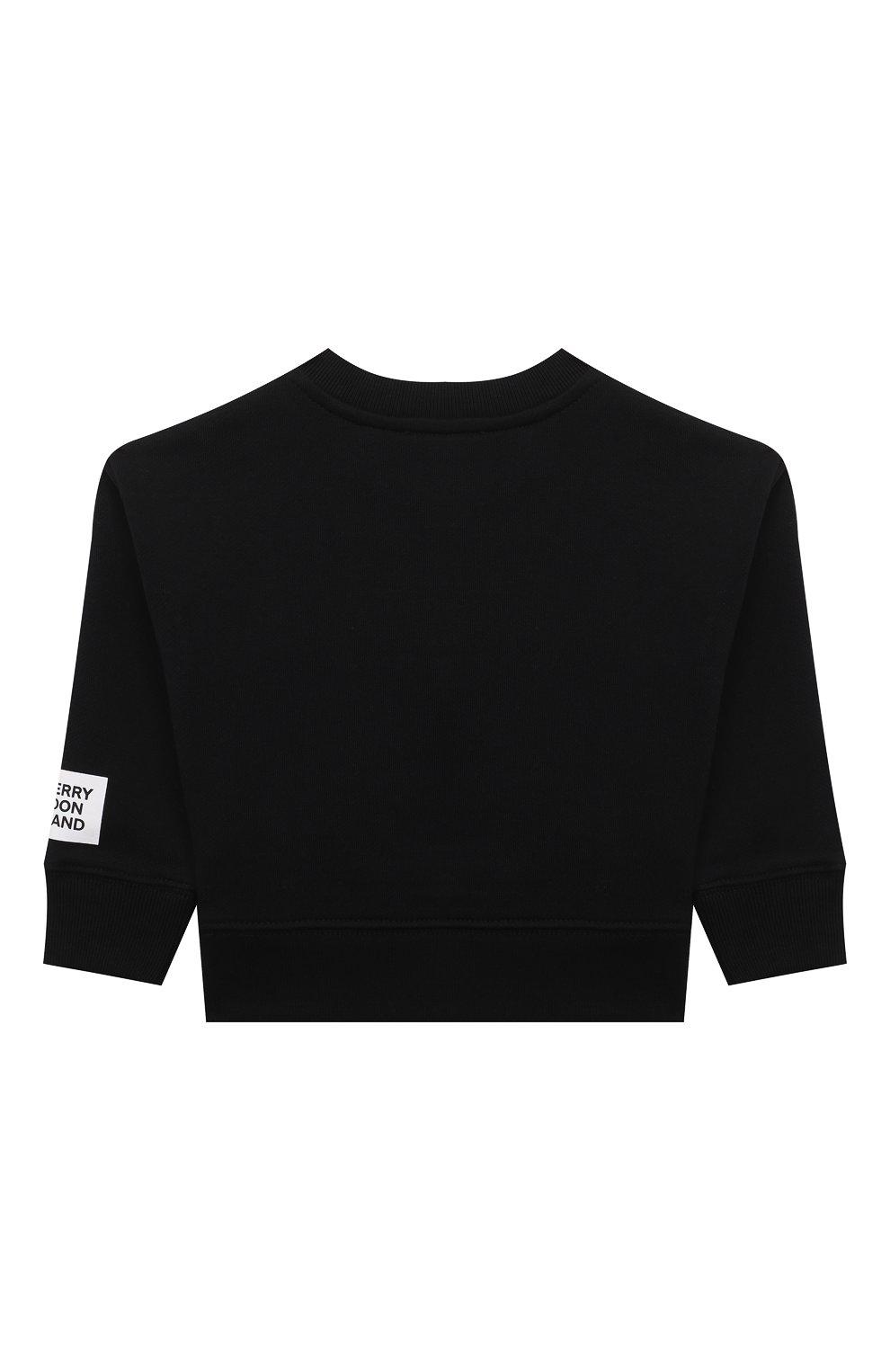 Детский хлопковый свитшот BURBERRY черного цвета, арт. 8038461 | Фото 2