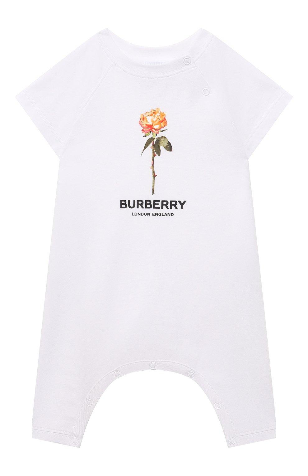 Детский хлопковый комбинезон BURBERRY белого цвета, арт. 8038383 | Фото 1