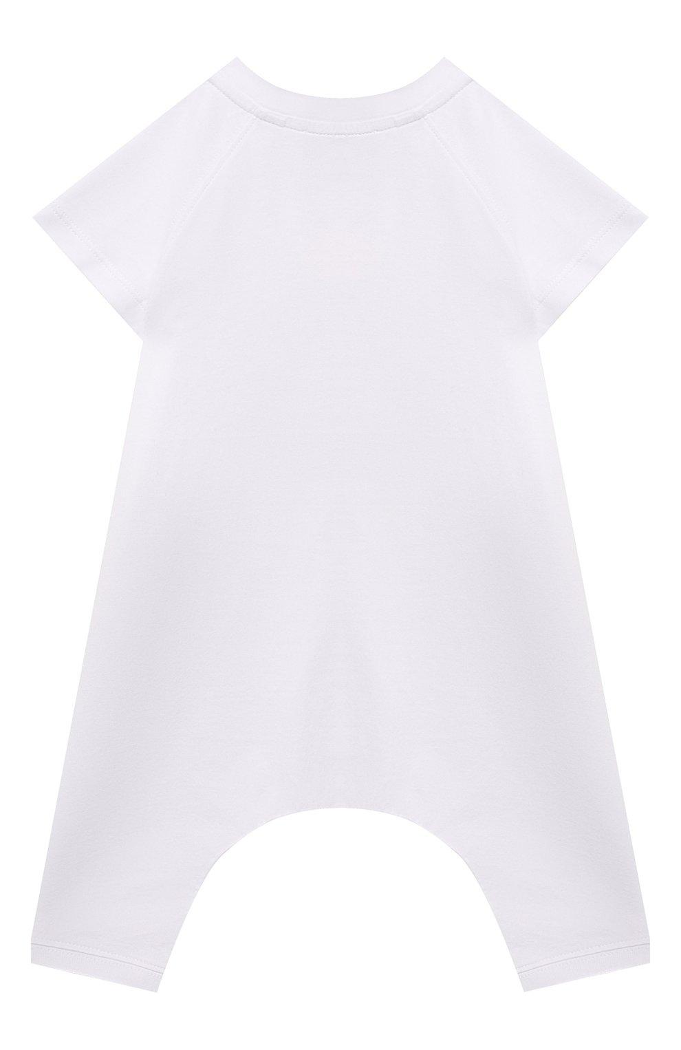 Детский хлопковый комбинезон BURBERRY белого цвета, арт. 8038383 | Фото 2