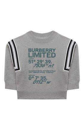 Детский хлопковый свитшот BURBERRY серого цвета, арт. 8038313 | Фото 1
