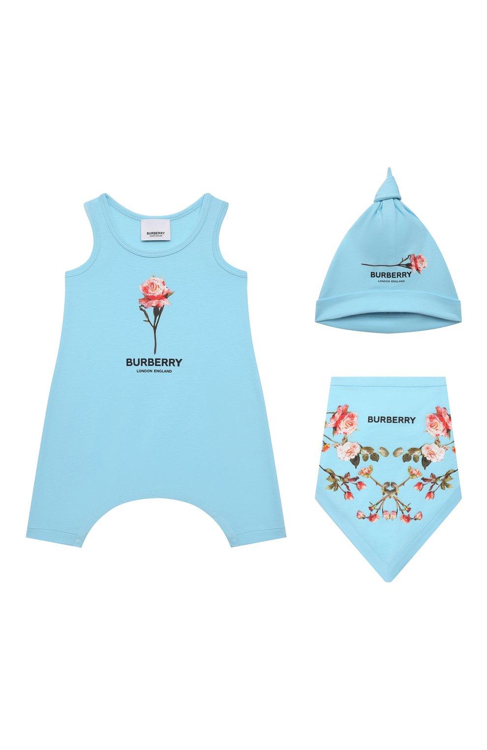 Детское комплект из трех предметов BURBERRY голубого цвета, арт. 8038381   Фото 1
