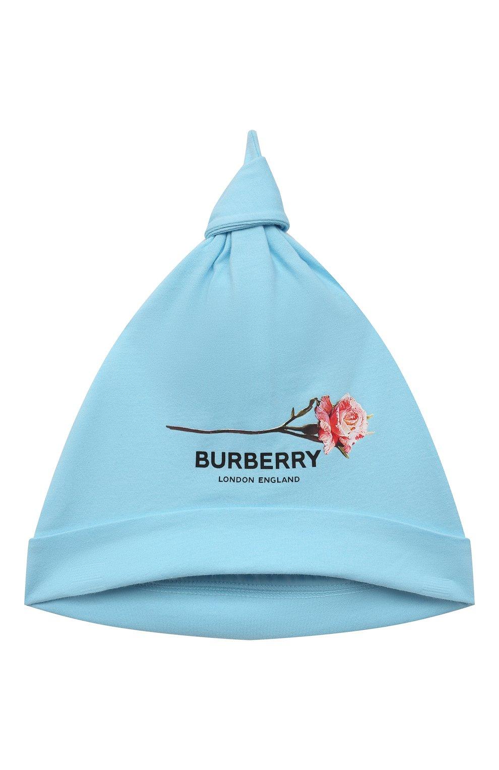 Детское комплект из трех предметов BURBERRY голубого цвета, арт. 8038381   Фото 5