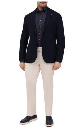 Мужская хлопковая рубашка ZILLI темно-синего цвета, арт. MFV-45006-305624/ZS190A | Фото 2 (Длина (для топов): Стандартные; Материал внешний: Хлопок; Рукава: Длинные; Стили: Кэжуэл; Случай: Повседневный; Манжеты: На пуговицах; Принт: Однотонные; Рубашки М: Classic Fit; Воротник: Кент)
