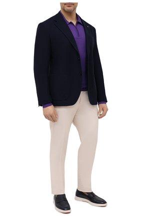 Мужское шерстяное поло LUCIANO BARBERA фиолетового цвета, арт. 109877/53214/58-62 | Фото 2