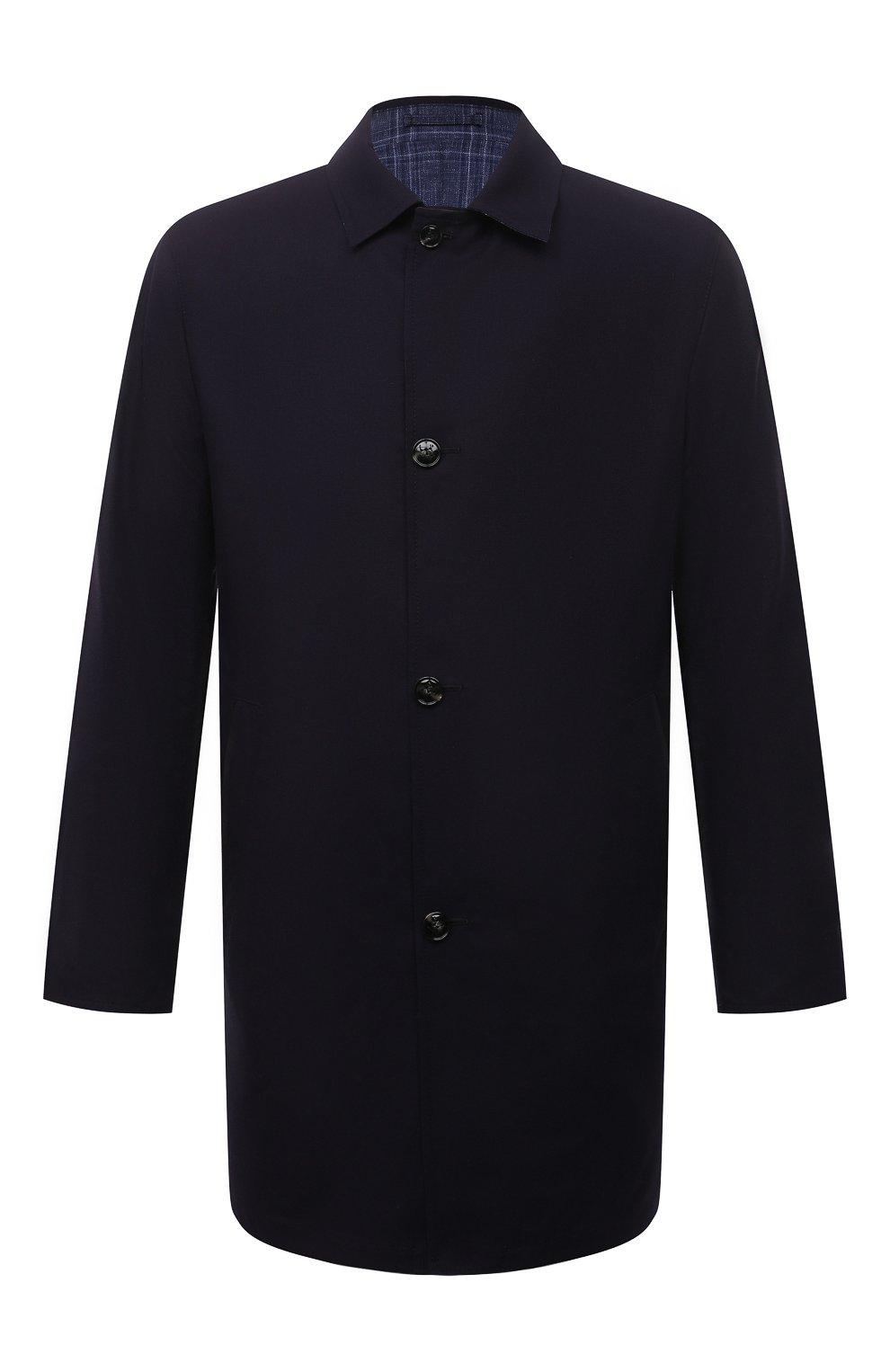 Мужской двусторонний плащ KITON темно-синего цвета, арт. UW0852CV07T80 | Фото 1 (Мужское Кросс-КТ: Плащ-верхняя одежда; Материал внешний: Шерсть, Шелк, Кашемир; Материал утеплителя: Шерсть; Рукава: Длинные; Длина (верхняя одежда): До середины бедра; Стили: Классический)