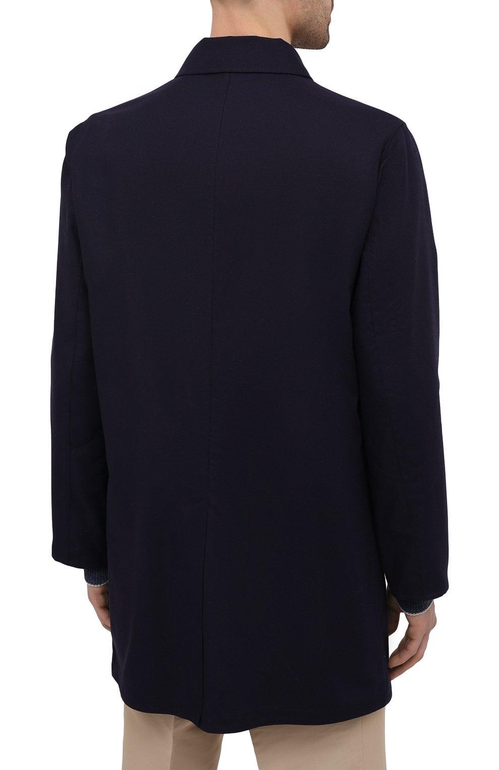 Мужской двусторонний плащ KITON темно-синего цвета, арт. UW0852CV07T80 | Фото 4 (Мужское Кросс-КТ: Плащ-верхняя одежда; Материал внешний: Шерсть, Шелк, Кашемир; Материал утеплителя: Шерсть; Рукава: Длинные; Длина (верхняя одежда): До середины бедра; Стили: Классический)