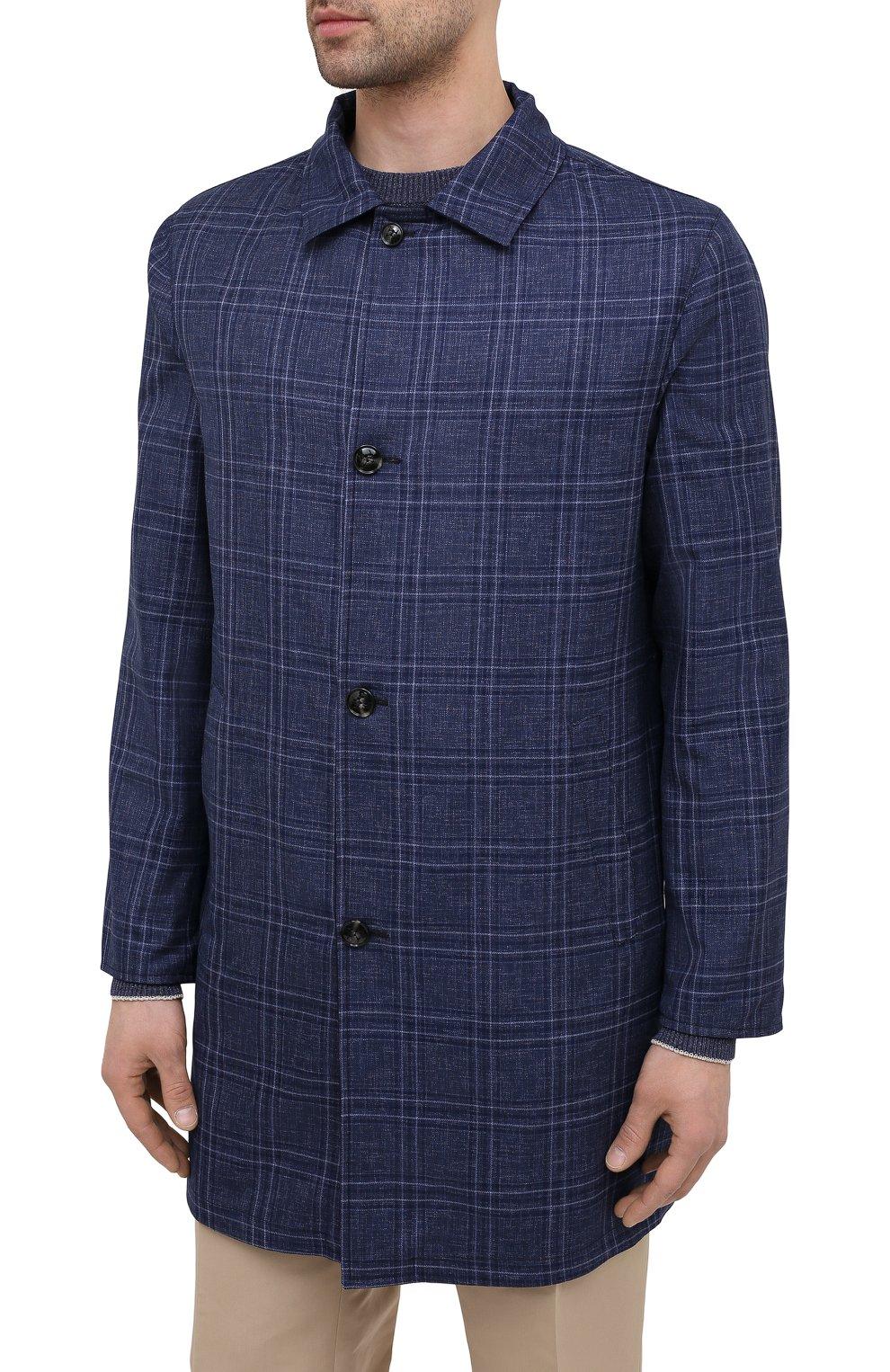 Мужской двусторонний плащ KITON темно-синего цвета, арт. UW0852CV07T80 | Фото 6 (Мужское Кросс-КТ: Плащ-верхняя одежда; Материал внешний: Шерсть, Шелк, Кашемир; Материал утеплителя: Шерсть; Рукава: Длинные; Длина (верхняя одежда): До середины бедра; Стили: Классический)