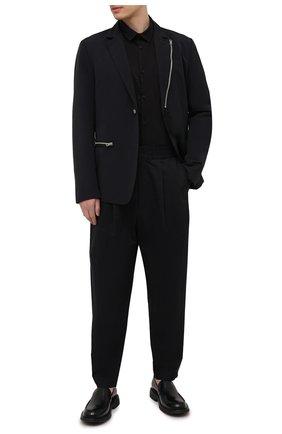 Мужская хлопковая рубашка TRANSIT черного цвета, арт. CFUTRNU300 | Фото 2