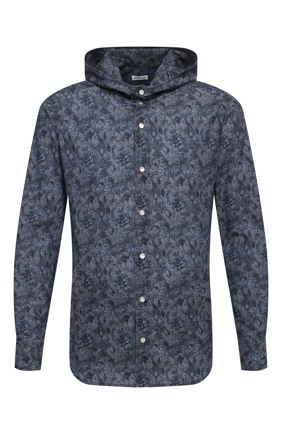 Мужская хлопковая рубашка KITON темно-синего цвета, арт. UMCMARH0767305 | Фото 1 (Воротник: С капюшоном; Рукава: Длинные; Рубашки М: Regular Fit; Манжеты: На кнопках; Случай: Повседневный; Длина (для топов): Стандартные; Принт: С принтом; Материал внешний: Хлопок; Стили: Кэжуэл)