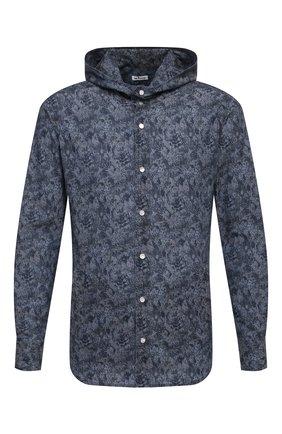 Мужская хлопковая рубашка KITON темно-синего цвета, арт. UMCMARH0767305 | Фото 1
