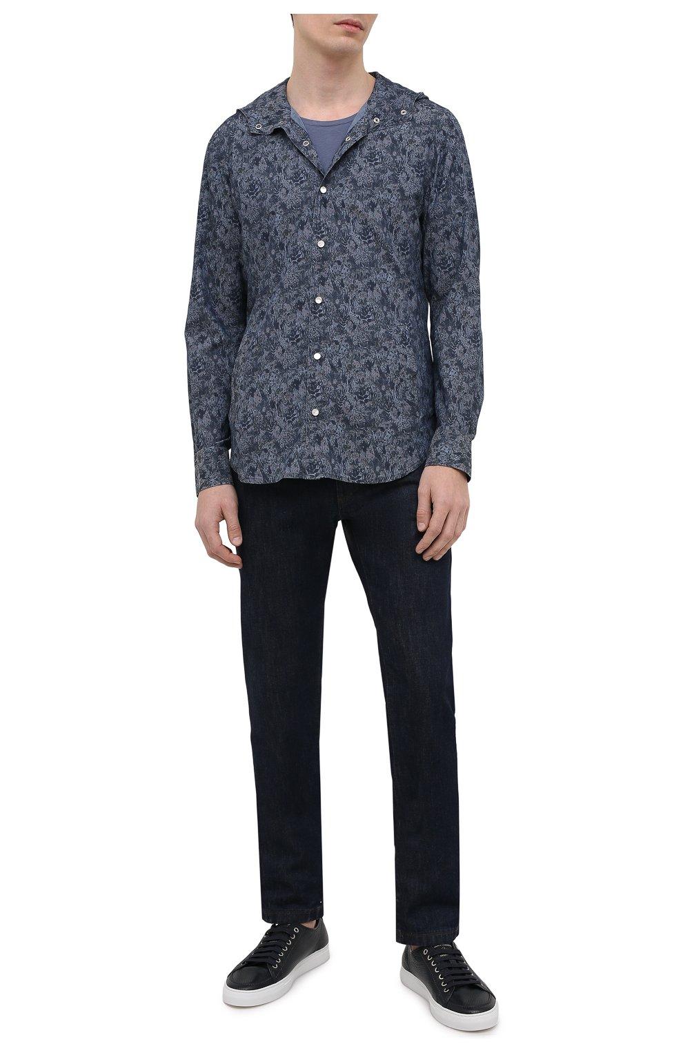 Мужская хлопковая рубашка KITON темно-синего цвета, арт. UMCMARH0767305 | Фото 2 (Воротник: С капюшоном; Рукава: Длинные; Рубашки М: Regular Fit; Манжеты: На кнопках; Случай: Повседневный; Длина (для топов): Стандартные; Принт: С принтом; Материал внешний: Хлопок; Стили: Кэжуэл)