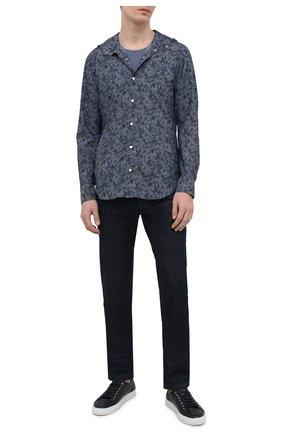 Мужская хлопковая рубашка KITON темно-синего цвета, арт. UMCMARH0767305 | Фото 2