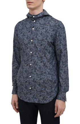 Мужская хлопковая рубашка KITON темно-синего цвета, арт. UMCMARH0767305 | Фото 3 (Воротник: С капюшоном; Рукава: Длинные; Рубашки М: Regular Fit; Манжеты: На кнопках; Случай: Повседневный; Длина (для топов): Стандартные; Принт: С принтом; Материал внешний: Хлопок; Стили: Кэжуэл)