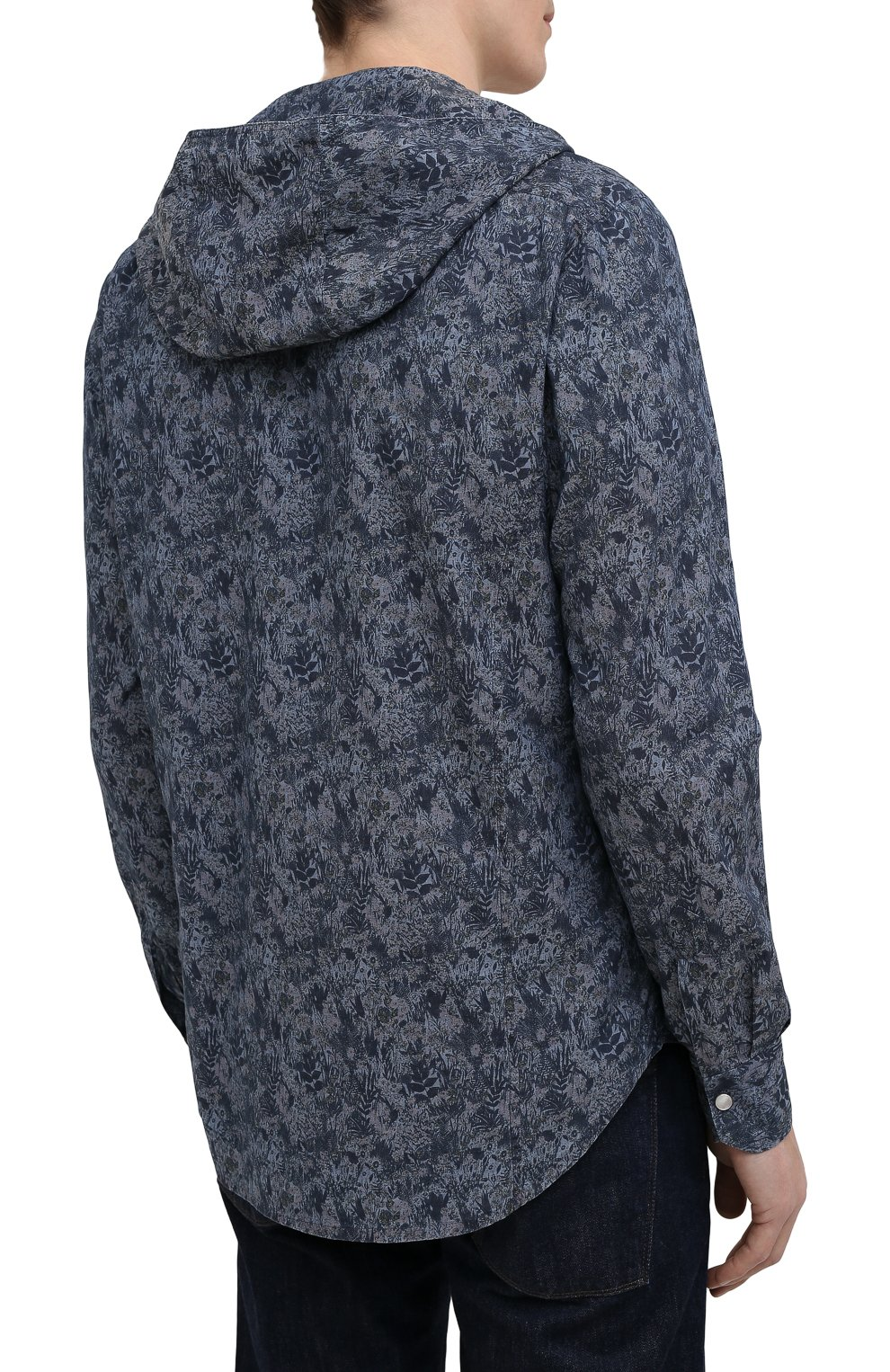 Мужская хлопковая рубашка KITON темно-синего цвета, арт. UMCMARH0767305 | Фото 4 (Воротник: С капюшоном; Рукава: Длинные; Рубашки М: Regular Fit; Манжеты: На кнопках; Случай: Повседневный; Длина (для топов): Стандартные; Принт: С принтом; Материал внешний: Хлопок; Стили: Кэжуэл)