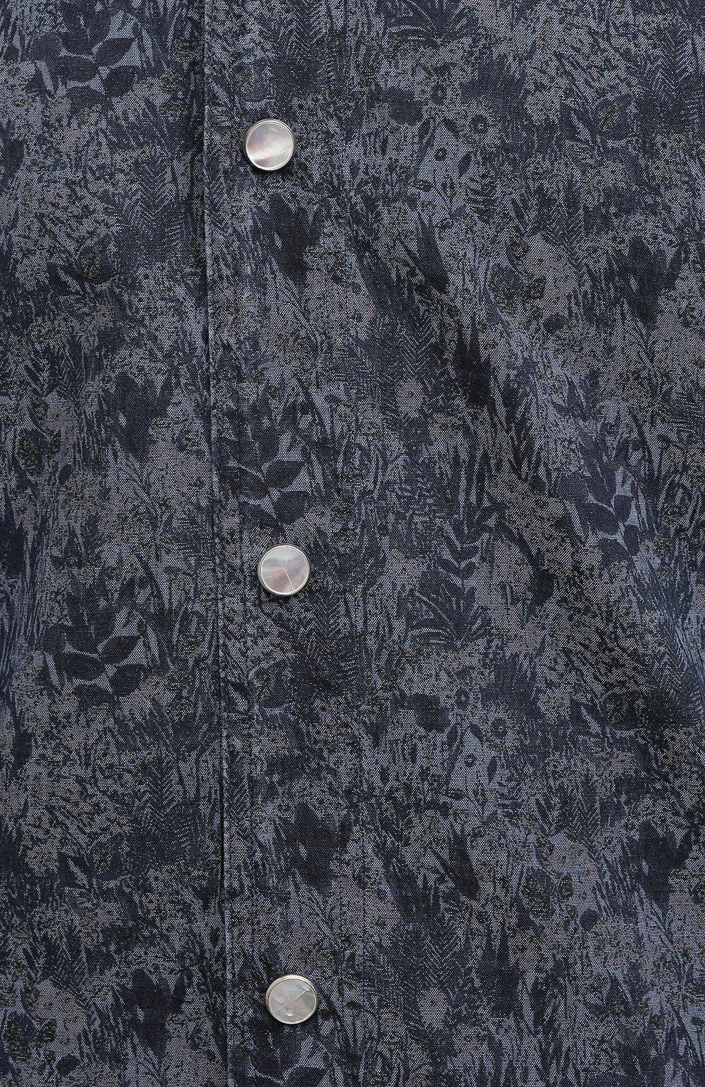 Мужская хлопковая рубашка KITON темно-синего цвета, арт. UMCMARH0767305 | Фото 5 (Воротник: С капюшоном; Рукава: Длинные; Рубашки М: Regular Fit; Манжеты: На кнопках; Случай: Повседневный; Длина (для топов): Стандартные; Принт: С принтом; Материал внешний: Хлопок; Стили: Кэжуэл)