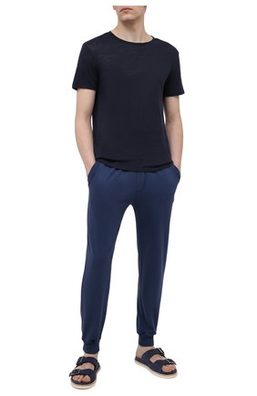 Мужская льняная футболка DEREK ROSE темно-синего цвета, арт. 3163-J0RD002 | Фото 2