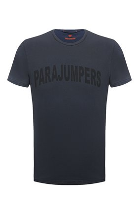 Мужская хлопковая футболка PARAJUMPERS темно-серого цвета, арт. TS21/PARAJUMPERS TEE CRK   Фото 1 (Материал внешний: Хлопок; Длина (для топов): Стандартные; Рукава: Короткие; Стили: Кэжуэл; Принт: С принтом)