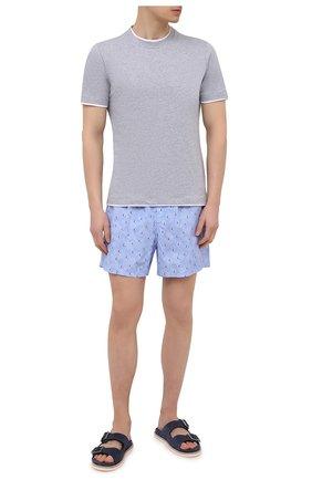 Мужские плавки-шорты LORO PIANA голубого цвета, арт. FAL6416 | Фото 2 (Материал внешний: Синтетический материал; Принт: С принтом; Мужское Кросс-КТ: плавки-шорты)
