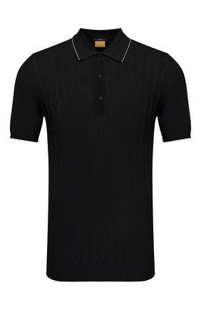 Мужское хлопковое поло SVEVO черного цвета, арт. 82164SE21/MP0002   Фото 1