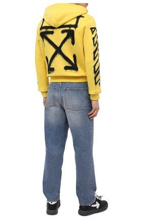 Мужской хлопковое худи OFF-WHITE желтого цвета, арт. 0MBB034S21FLE004 | Фото 2 (Длина (для топов): Стандартные; Рукава: Длинные; Материал внешний: Хлопок; Принт: С принтом; Стили: Гранж, Спорт-шик; Мужское Кросс-КТ: Худи-одежда)