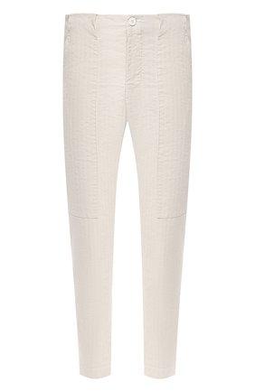 Мужские брюки из хлопка и льна TRANSIT светло-серого цвета, арт. CFUTRNH170 | Фото 1 (Длина (брюки, джинсы): Стандартные; Материал внешний: Хлопок, Лен; Случай: Повседневный; Стили: Кэжуэл)