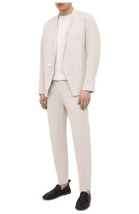 Мужские брюки из хлопка и льна TRANSIT светло-серого цвета, арт. CFUTRNH170 | Фото 2 (Длина (брюки, джинсы): Стандартные; Материал внешний: Хлопок, Лен; Случай: Повседневный; Стили: Кэжуэл)