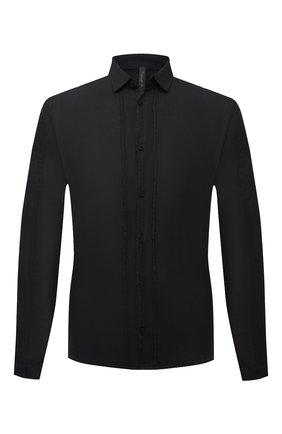 Мужская льняная рубашка TRANSIT черного цвета, арт. CFUTRNV310 | Фото 1 (Длина (для топов): Стандартные; Рукава: Длинные; Материал внешний: Лен; Случай: Повседневный; Воротник: Кент; Манжеты: На пуговицах; Стили: Кэжуэл; Принт: Однотонные)