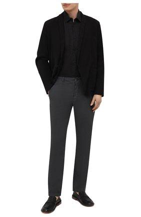 Мужская льняная рубашка TRANSIT черного цвета, арт. CFUTRNV310 | Фото 2 (Длина (для топов): Стандартные; Рукава: Длинные; Материал внешний: Лен; Случай: Повседневный; Воротник: Кент; Манжеты: На пуговицах; Стили: Кэжуэл; Принт: Однотонные)
