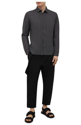 Мужская льняная рубашка TRANSIT темно-серого цвета, арт. CFUTRNV310 | Фото 2