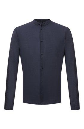 Мужская льняная рубашка TRANSIT темно-синего цвета, арт. CFUTRNV312 | Фото 1