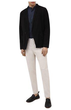 Мужская льняная рубашка TRANSIT темно-синего цвета, арт. CFUTRNV312 | Фото 2